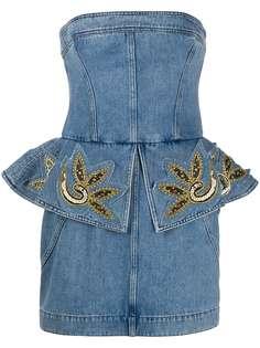 Philosophy Di Lorenzo Serafini декорированное джинсовое платье с баской