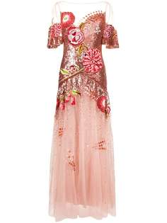 Temperley London вечернее платье из тюля с цветочной вышивкой и пайетками