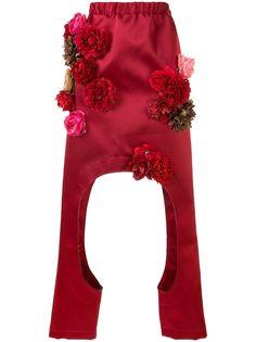 Comme Des Garçons брюки с цветочной аппликацией