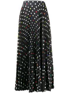 Christopher Kane длинная плиссированная юбка в горох