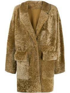 Drome фактурное пальто из овчины