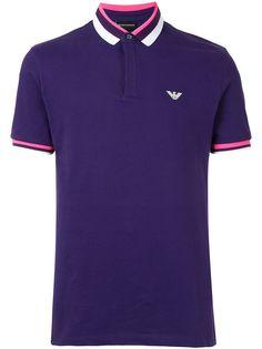 Emporio Armani рубашка поло с логотипом и отделкой в полоску