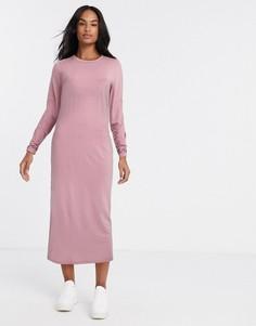 Темно-розовое платье-футболка макси с длинными рукавами ASOS DESIGN-Розовый