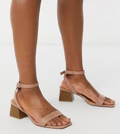 Розовые босоножки для широкой стопы на блочном каблуке ASOS DESIGN-Бежевый