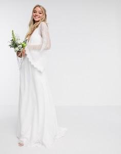 Кружевное свадебное платье с рукавами кимоно ASOS EDITION-Белый