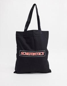 Черная сумка-тоут из органического хлопка с принтом ASOS DESIGN-Черный