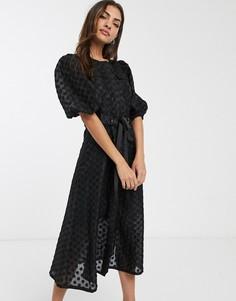 Черное платье миди из органзы в горошек добби с пышными рукавами и поясом ASOS DESIGN-Черный