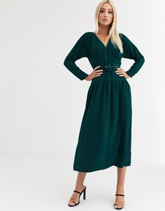Зеленое платье макси с запахом и поясом с пряжкой ASOS DESIGN-Зеленый