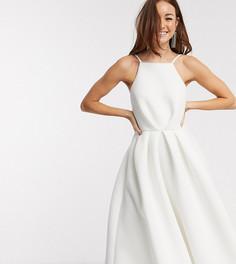 Платье миди для выпускного цвета слоновой кости с открытой спиной True Violet-Белый