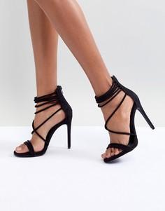 Бархатные босоножки на каблуке Steve Madden-Черный