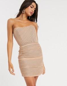 Платье-бандо мини со сборками ASOS DESIGN-Розовый