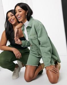 Длинные джинсовые шорты хаки от комплекта Missguided-Зеленый