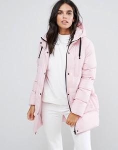 Дутое пальто средней длины Brave Soul-Розовый