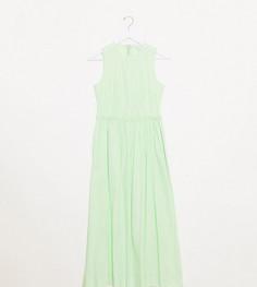 Платье макси без рукавов из поплина Topshop Boutique-Зеленый