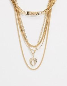 Золотистое ярусное ожерелье с подвеской Topshop-Золотой