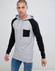 Обтягивающий худи с контрастными рукавами реглан и карманом на груди ASOS DESIGN organic-Серый