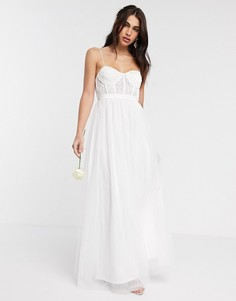Свадебное платье с кружевным корсетомASOS EDITION-Белый