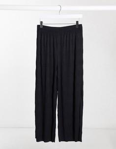 Фактурные брюки кюлоты с плиссировкой ASOS DESIGN-Черный