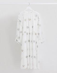Платье мидакси с цветочной вышивкой Lost Ink-Белый