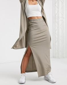 Юбка от комплектав стиле casual с мерцающим эффектом ASOS DESIGN-Коричневый