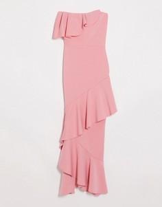 Коралловое платье-бандо мидакси с оборками True Violet-Оранжевый
