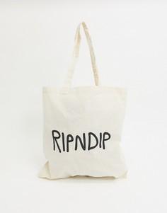 "Бежевая сумка-тоут с логотипом ""Lord Nermal"" RIPNDIP-Кремовый"