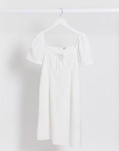 Белое летнее платье с пышными рукавами Pimkie-Белый