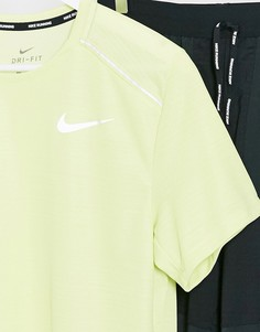 Лаймовая футболка Nike Running Miler-Зеленый