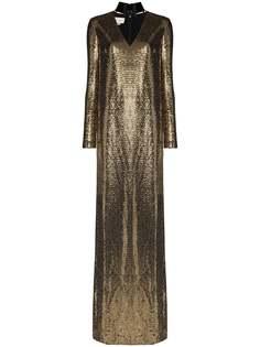 Gucci платье металлик с лакированным чокером