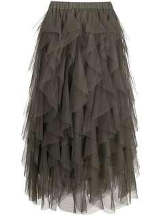 P.A.R.O.S.H. юбка миди с оборками