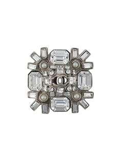 Chanel Pre-Owned брошь с кристаллами и логотипом CC