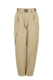 Бежевые брюки джоггеры с накладными карманами Miss Sixty