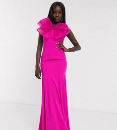 Эксклюзивное ярко-розовое платье-бандо макси с годе и большим бантом Dolly & Delicious-Розовый