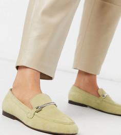 Зеленые кожаные лоферы с цепочками ASOS DESIGN Wide Fit-Зеленый