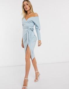 """Голубое платье с открытыми плечами и рукавами """"летучая мышь"""" ASOS DESIGN-Синий"""