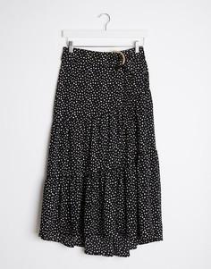 Черная длинная юбка в горошек с поясом Stradivarius-Черный