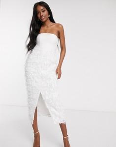 Белое облегающее платье-бандо миди с 3D перьевой отделкой Forever U-Белый