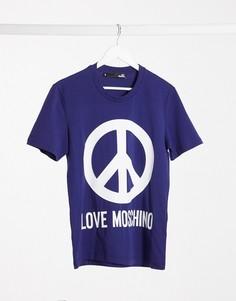 Футболка с принтом логотипа Love Moschino-Синий