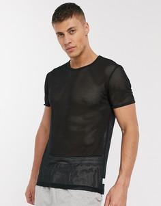 Черная сетчатая футболка с круглым вырезом Calvin Klein CK One-Черный