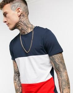 Темно-синяя футболка колор блок Jack & Jones Originals-Темно-синий