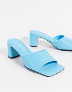 Бирюзовые туфли из искусственной кожи с квадратным носом Monki-Синий