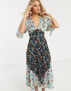 Платье миди с комбинированным цветочным принтом Topshop IDOL-Мульти