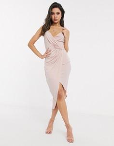 Светло-розовые платье миди на бретелях с запахом Flounce London-Розовый