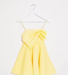 Короткое приталенное платье лимонного цвета на бретельках со сборкой эксклюзивно для ASOS DESIGN Petite-Желтый
