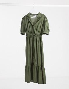 Летнее платье макси цвета хаки Lola May-Зеленый