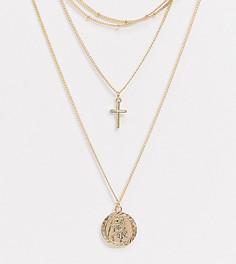 Золотистое ожерелье в несколько рядов ASOS DESIGN Curve-Золотой