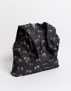 Черная сумка-тоут из переработанного полиэстера с принтом Monki-Черный