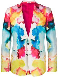 Alexander McQueen однобортный пиджак Watercolour
