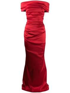 Talbot Runhof платье бандо Rosso