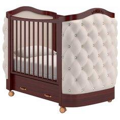 Кроватка Гандылян Тиффани декор стразы (колесо) (качалка) махагон